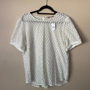 NWT LOFT white lace blouse with button back